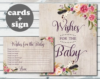 Boho Baby Well Wishes Cards, Boho Wishes For The Baby Printable, Floral Well Wishes for Baby Cards and Sign, Bohemian Feathers Floral Theme