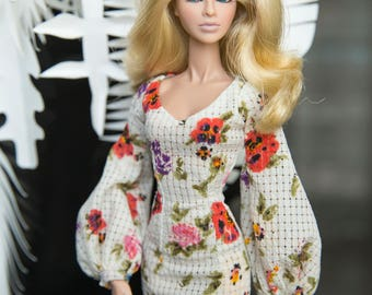 "poppies dress for Fashion royalty , nuface, poppy parker , barbie silkstone , fashion doll 12"" same size"