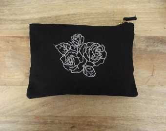 Black and White Embroidery Triple Rose Purse/Clutch/Make-Up Bag