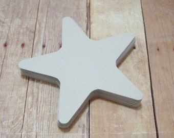 3 inch Cardstock Star Cutouts-Starfish Shapes-Light Gray Stars-Scrapbooking-Star Embellishments- Paper Cutouts-Party Decor-Silver Stars