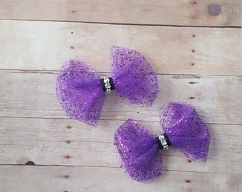 Purple pigtail hair bows