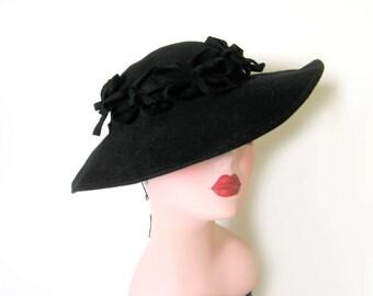Vintage 1930's/40's Black Wool Wide Brim Platter/Tilt Hat~