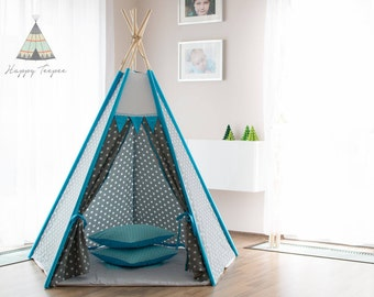 Grey teepee with stars and turquoise (pentagon), handmade indian teepee, kids play, tent, tipi, wigwam