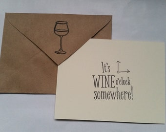 Wine O'Clock Somewhere Handmade Recycled Stationery - Set of 10
