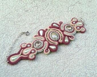 Soutache bracelet. Handmade bracelet. Pink, silver bracelet.