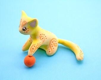 Yellow cat figurine lemon cat animal totem fantasy creature figure velvet clay polymer clay figurine clay miniature birthday gift for her