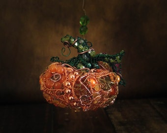 Wire Wrapped Pumpkin Ornament with Gemstones and Pearls