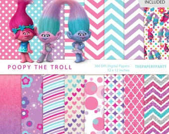 Poppy The Troll -16 inspired Digital Papers for DIY invitations, printables, personalized party!