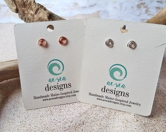 Copper Wave Stud Earrings - Tiny Spiral Post Earrings - Swirl - Friendship - Gift - Petite - Handmade Maine Jewelry - Valentines Day