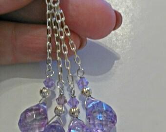 Lilac teardrop earrings, long earrings, crystal earrings, chain earrings, silver earrings, glass drooped earrings