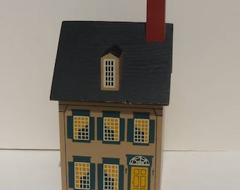 Windfield Designs Wooden House Bank, Colonial Style House Bank, Country House Bank