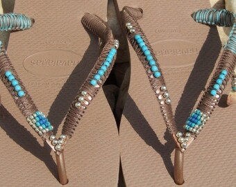 Hanaianas, Flip Flops,  Bohemian Sandals, Beaded  Shoes, Boho Chic Sandals, Beach Sandals, Foot Jewelry, Hippie Sandals, Flat Sandals, Gipsy