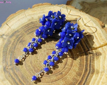 Cluster Earrings Royal blue flowers handmade polymer clay Blue long earrings Blue wedding jewelry Gift for her Floral jewelry bridesmaid