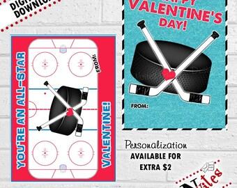 Hockey Valentines, Kids Hockey Valentine Cards, Sport Valentines, Hockey Valentine's Cards, Hockey Valentine's Day Cards | PRINTABLE