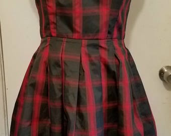 Strapless Red Plaid Dress Size L 1990's Retro Doll Vintage Pleated Bow
