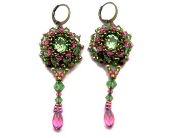 Earrings embroidered Baroque, sleepers bronze brass, Crystal green peridot and pink