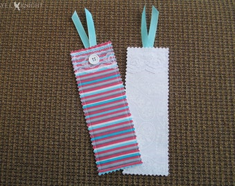 Fabric Bookmark - Lace, Button, and Ribbon