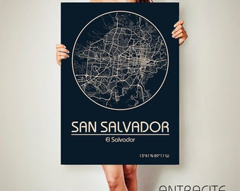 SAN SALVADOR CANVAS Map El Salvador Poster City Map San Salvador Art Print San Salvador poster San Salvador map art Poster San Salvador map