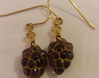 Handmade Grape & Topaz Coloured Crystal Bead Dangle Drop Earrings