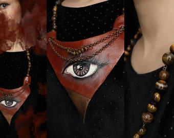 "Handpainted Leather Necklace ""ThirdEye Brown"""