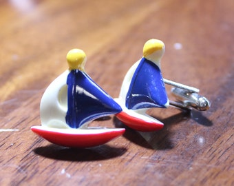 Sailboat Cuff links, Maritime Boating Cufflinks, summer cuffs