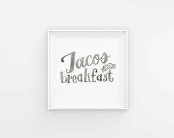 Breakfast Tacos 8x8 Wall Print Kitchen Decor // Home Decor // Square Digital Download