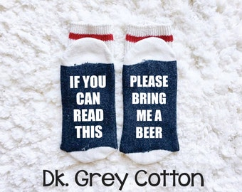 Bring Me A Beer, Wine Socks, Beer Socks, Funny Socks, If You Can Read This Socks, Custom Socks, Womens Socks, Glitter Socks, Gift Idea