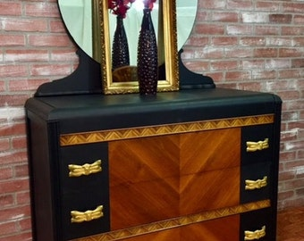SOLD!  ** NLA!  **  SOLD!    painted dresser, art deco dresser, waterfall dresser, Shabby Chalk Paint, vintage dresser, antique furniture