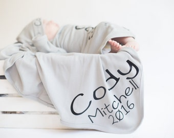 Baby boy name blanket, custom personalized newborn swaddle wrap blanket, Top Sellers Baby name blanket,photo prop, hat sold seperate