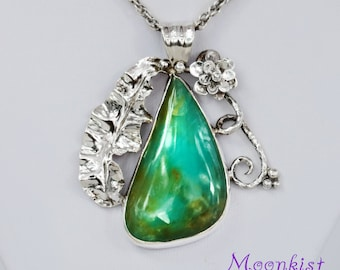 Ready to Ship - Green Peruvian Opal Pendant and Chain in Sterling - Silver Handmade Floral Pendant - Unique Green Statement Pendant Necklace