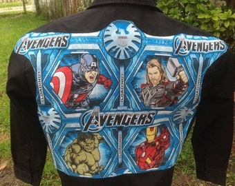 The Avengers Men's Shirt By Maria B. Vintage Dickies Shirt & Marvel Avengers Vintage 2012 Fabric. Eco. Size Large.