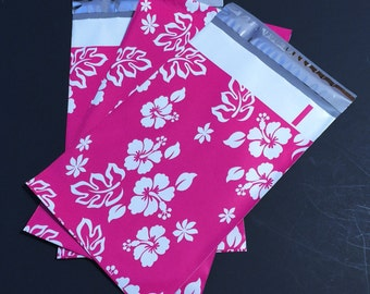 200 NEW 6x9 Designer Poly Mailers ALOHA Hibiscus Pink With White  Flowers Self Sealing Envelopes Shipping Bags