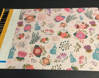 100 Designer Poly Mailers 10x13 Rabbits and Flowers Spring Easter Envelopes Shipping Bags