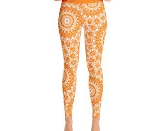 Orange Yoga Leggings. Orange Leggings. Orange and White Printed Leggings. Mandala Art Tights. Orange Stretch Pants