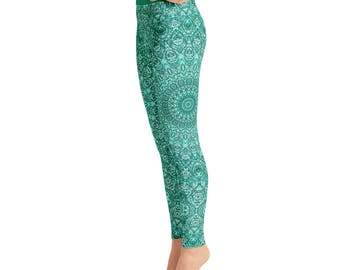 Womens Yoga Pants - Turquoise Patterned Leggings for Women, Blue Mandala Printed Boho Leggings