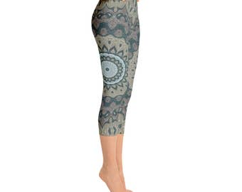 Capris - Mid Rise Printed Leggings for Women, Tribal Yoga Pants, Mandala Patterned Boho Leggings, Shaman Clothing