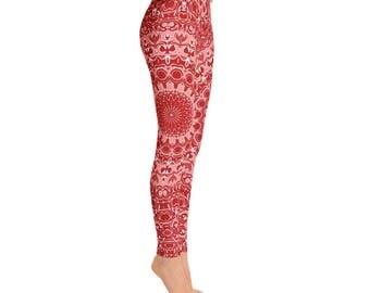 Mid Rise Red Leggings - Mandala Art Yoga Pants, Pattern Yoga Leggings, Printed Leggings