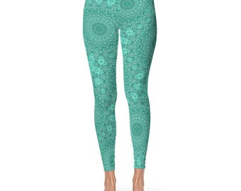 Turquoise Patterned Leggings for Women - Blue Mandala Printed Art Leggings, Womens Yoga Pants