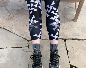Geometric Leggings - Black and Gray Triangle Leggings, Plus Size Leggings, Capris Yoga Pants