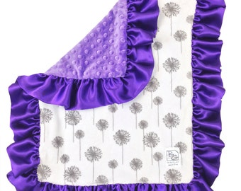 Purple Dandelion Security Blanket Gray Purple