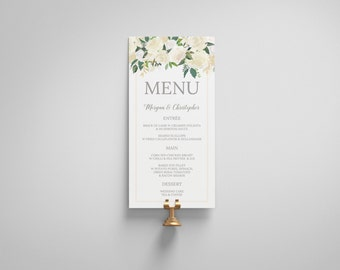 Printable Wedding Menu, Wedding Menu Template, Floral wedding, digital PDF, custom menu, The Riana Suite
