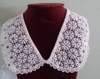 Vintage White Lace Collar Rhinestones Vintage Clothing 1950s Dress Blouse Embellishment