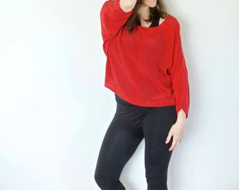 Vintage Silk Crop Top   Red with White Dots