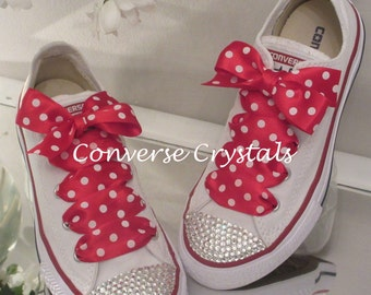 Ladies Custom Crystal *Bling* Converse Red Spot Laces Sizes 3-8