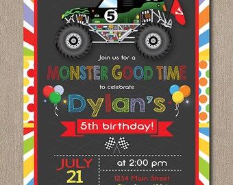 Monster Truck Invitation, Monster truck Invite, printable, chalkboard, printable