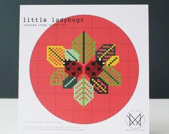 Little Ladybugs - Modern Counted Cross Stitch Kit - Easy DIY Cross Stitch Kit