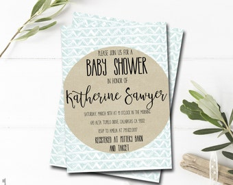 Boy Baby Shower Invitation Printable - Blue Baby Shower Invitation - Modern Baby Shower Invitation - Kraft Paper - Blue and White - Teal