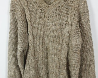 Vintage Sweater, Vintage Knit Pullover, brown, 80s, 90s, oversized look