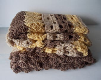 Vintage hand made hand crochet buttercup yellow soft brown taupe baby crib  afghan