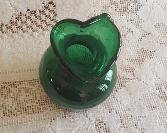 Hand Blown Green Glass Bud Vase